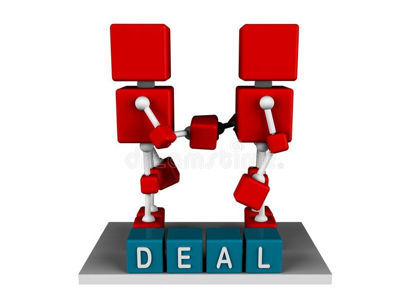 DEAL. Illustration of two 3d character red cube shaking hand with deal word in cubes stock illustration