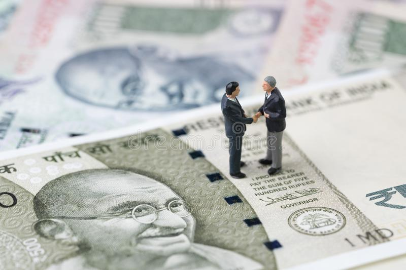 Deal, negotiation and collaboration for India financial and econ royalty free stock photo
