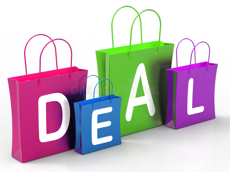 Deal On Shopping Bags Shows Bargains. Deal On Shopping Bags Showing Bargains And Promotion royalty free illustration