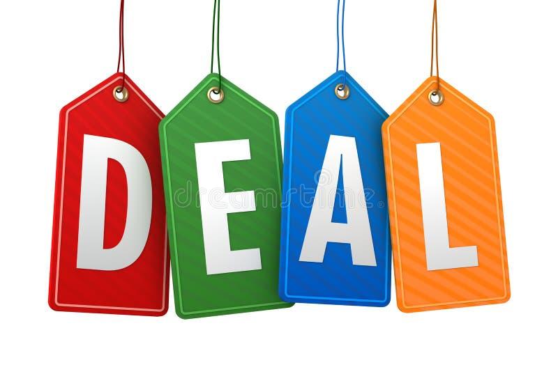 Deal shopping tag concept 3d illustration. Deal shopping tag 3d illustration on white background vector illustration