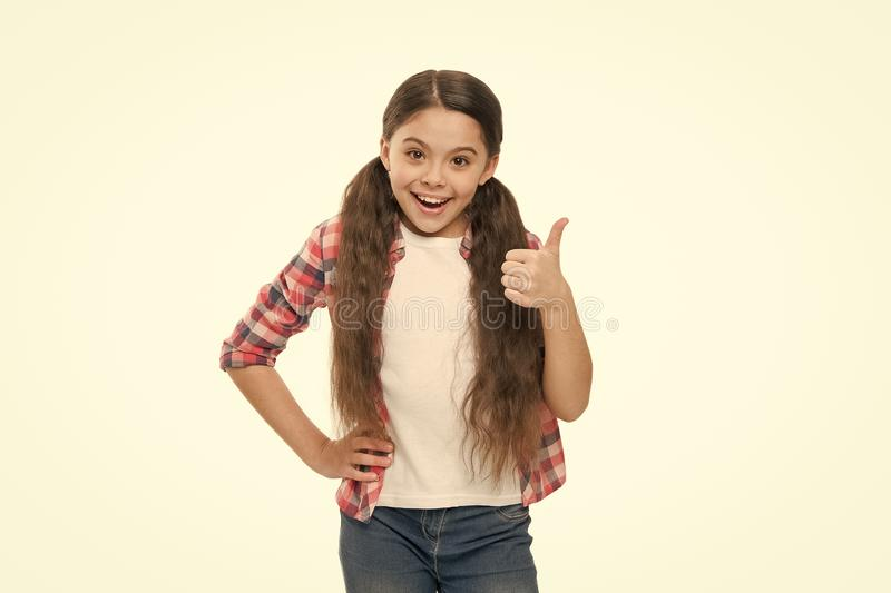 Deal with tangled hair. Girl cute kid with ponytails isolated on white. Tangled hair remedies. Barber salon and hair royalty free stock image