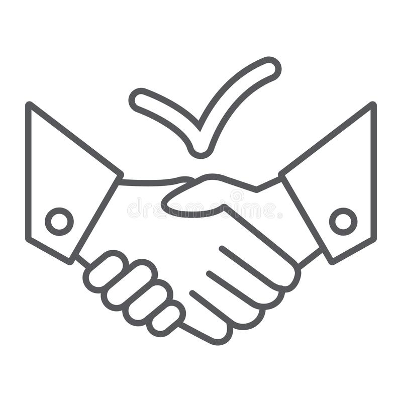 Deal thin line icon, agreement and partnership, handshake sign, vector graphics, a linear pattern on a white background. royalty free illustration