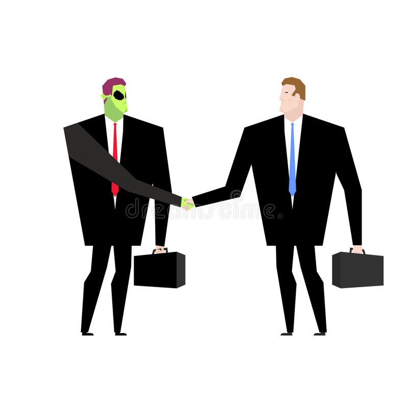 Deal with UFO. Businessman and alien conclude case. Martian and. Man shake hands. Handshake humanoids. Agreement between space ambassador and ambassador of royalty free illustration
