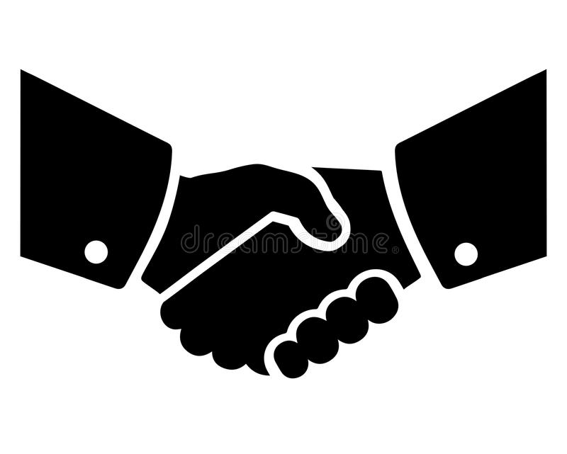 Deal. Vector illustration of two man hands in handshake making a deal royalty free illustration