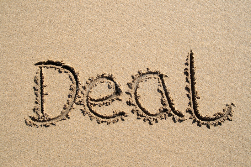 Download Deal, Written On A Beach Royalty Free Stock Photography - Image: 2315797