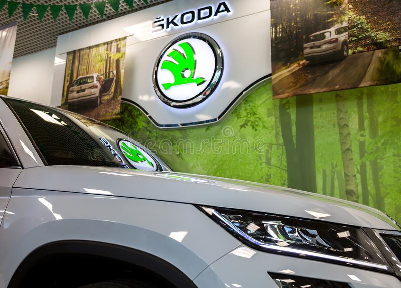 The dealership sign of Skoda. Samara, Russia - June 3, 2017: The dealership sign of Skoda. Skoda Auto is an automobile manufacturer based in the Czech Republic stock photo