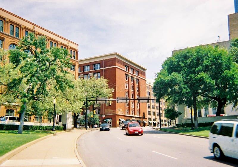 Dealey plac w W centrum Dallas Lokacja zabójstwo prezydent John F kennedy zdjęcie royalty free