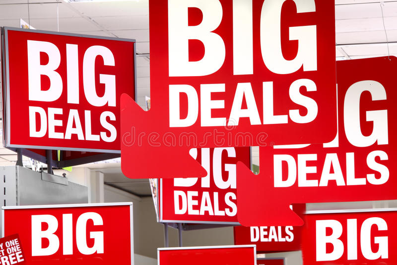 Deals sales sign. Red deal / deals / sale / sales sign / signs royalty free stock images