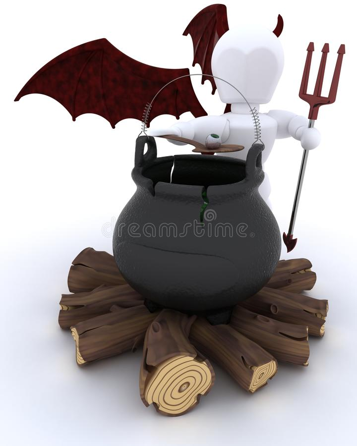 Download Deamon With Cauldron Of Eyeballs On Log Fire Stock Illustration - Image: 27283864
