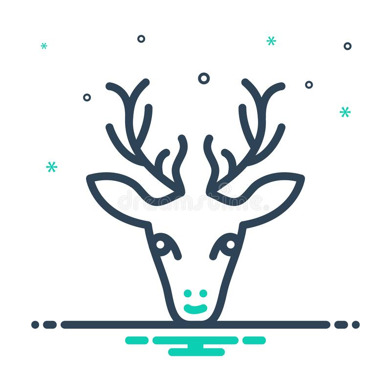 Mix icon for Dear, rain an animal. Mix icon for Dear, antler, forest, cute, horn,  rain an animal stock illustration