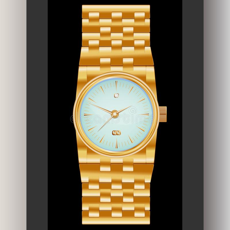 Dear, prestigious mechanical men`s watch with a gold bracelet, inlaid with diamond, showing the exact time and date. Dear, prestigious mechanical men`s watch royalty free illustration