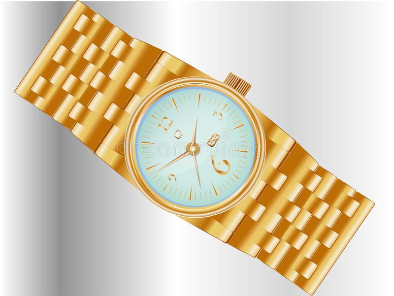 Dear, prestigious mechanical men\'s watch with a gold bracelet. Inlaid with diamond, showing the exact time and date stock illustration