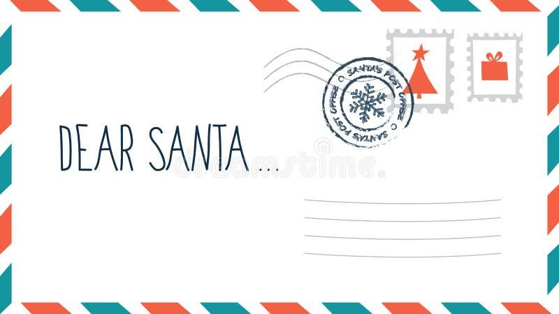Dear Santa christmas letter in envelope with stamp vector illustration