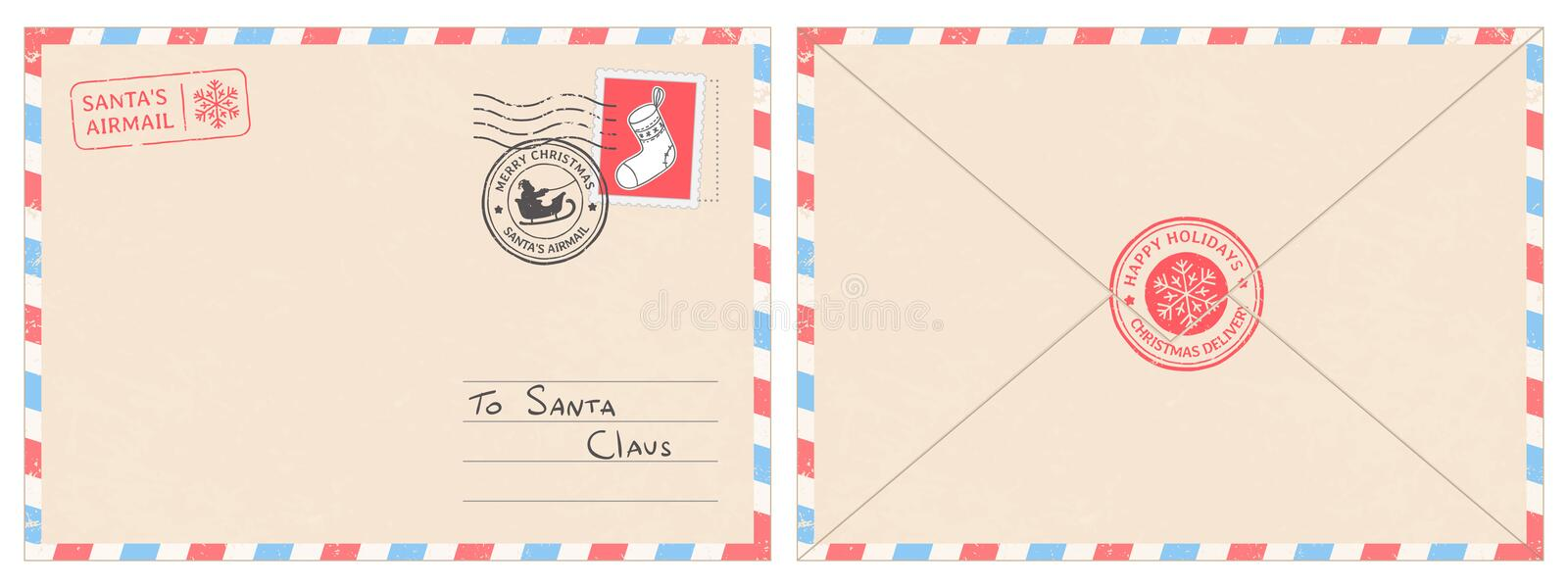 Dear santa claus mail envelope. Christmas surprise letter, child postcard with north pole postmark cachet vector royalty free illustration