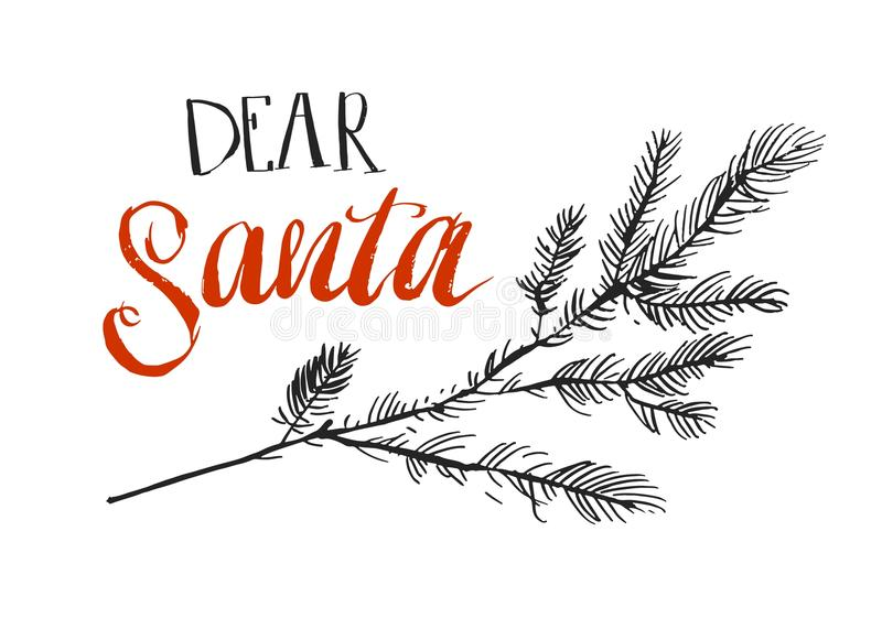 Dear Santa, I can explain. Funny saying for Christmas t-shirt, greeting card and wall art. Brush typography on red Santa. Hand made vector abstract Merry vector illustration