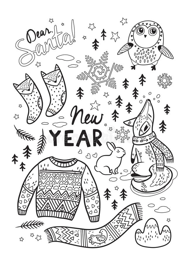 Black and white winter postcard in cartoon style. Vector illustration royalty free illustration