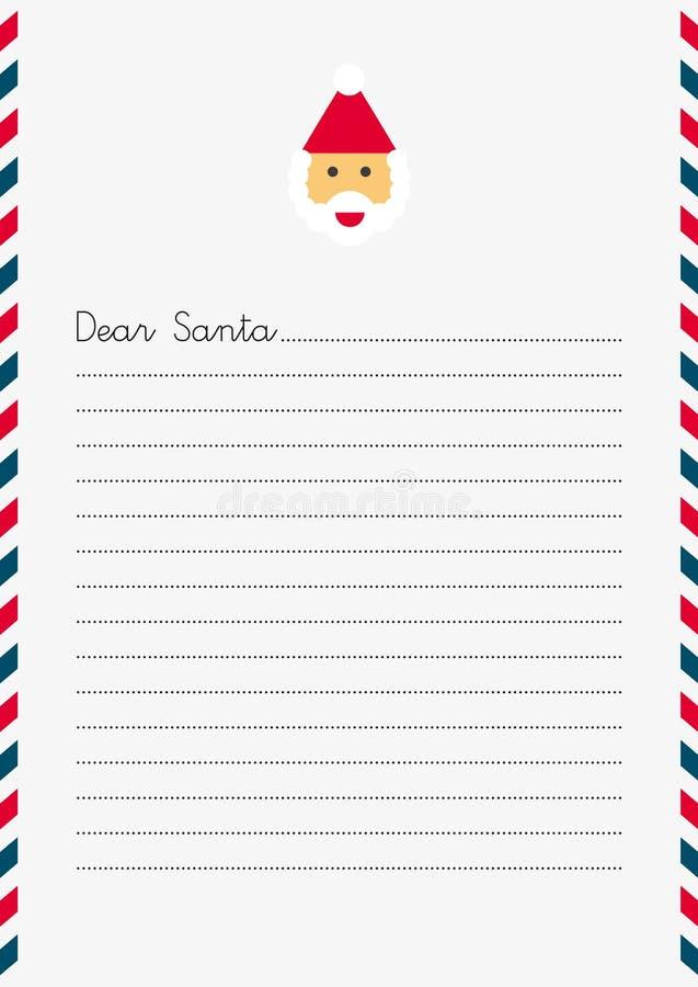 Dear Santa Letter Template Stock Vector Illustration Of