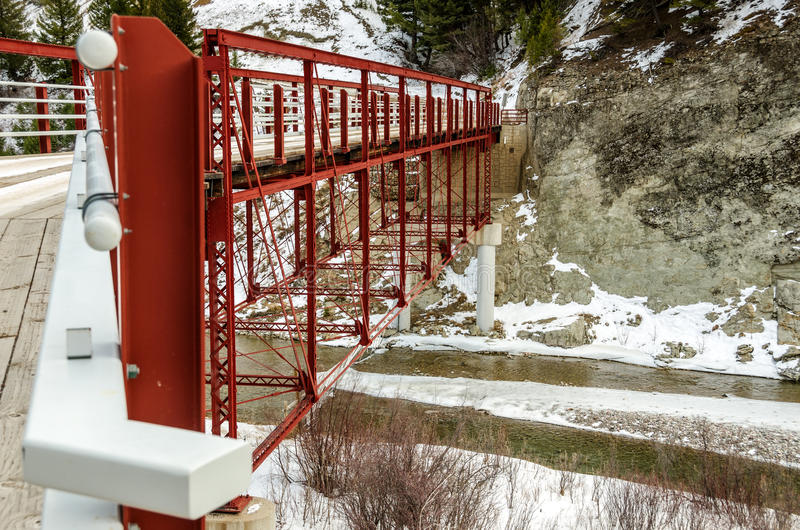 Dearborn-Fluss-hohe Brücke stockfotos