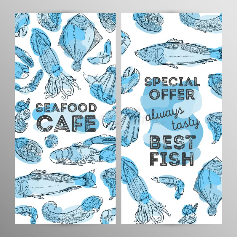 Deasign set seafood cafe. Restaurant brochure,flyer.Hand drawn graphic. Vector illustration vector illustration