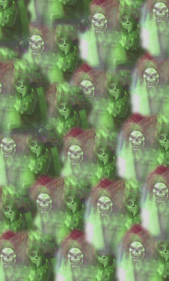 Death's-huvud, skalle-, skelett- och meningsbakgrund mystically arkivfoto