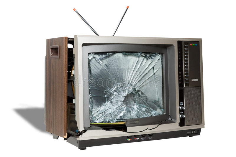 Death of Analog Television. Broken television symbolizing the death of analog television broadcasts in the United States stock images