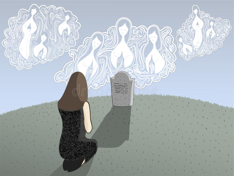 Death and Angels. Illustration of a grieving woman kneeling in front of a grave with angels looking down upon her stock illustration