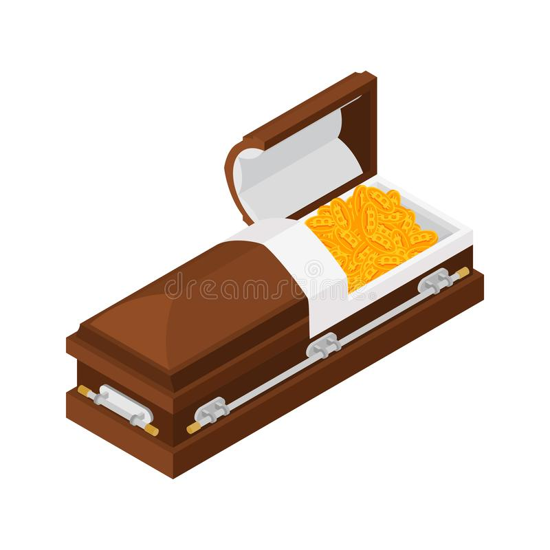 Death bitcoin in coffin. Rip cryptocurrency. Parting electronic. Money. Sorrow Virtual cash vector illustration