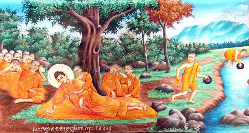 Death of Buddha fresco stock images