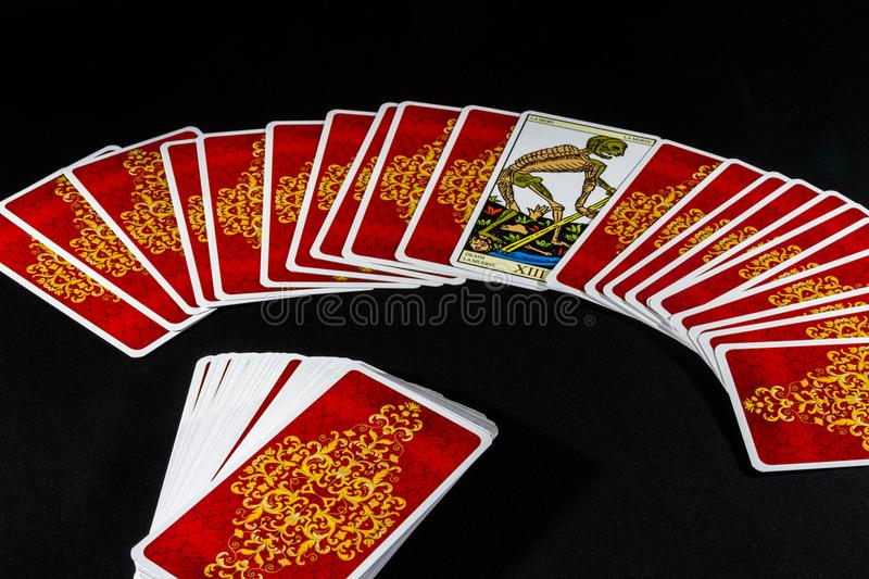 Marseille Tarot - Death. The Death card from the Marseille Tarot against a black backdrop royalty free stock image