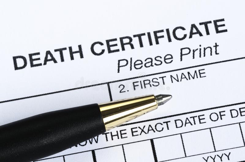 Death certificate stock photography