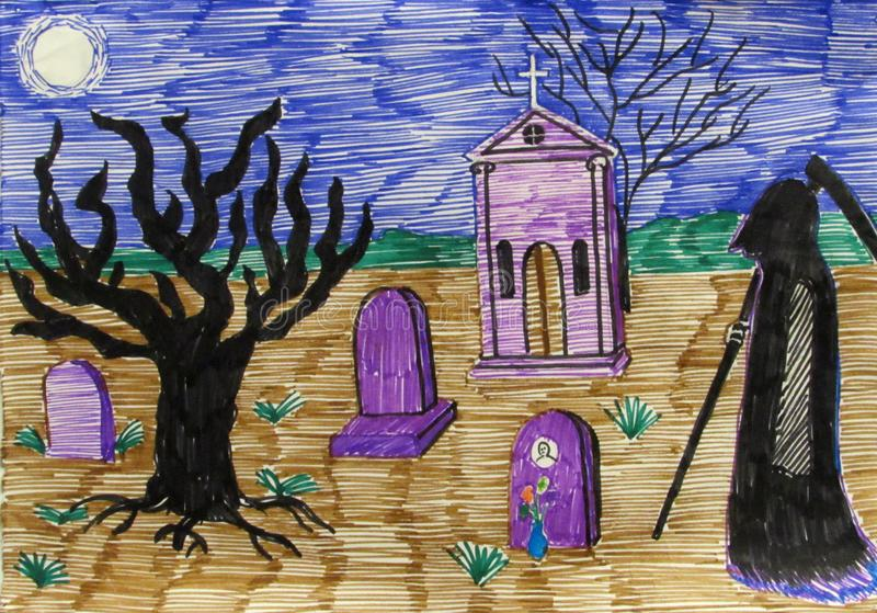 Death in a cloak and a scythe wanders through the cemetery among the graves and crypts stock photos