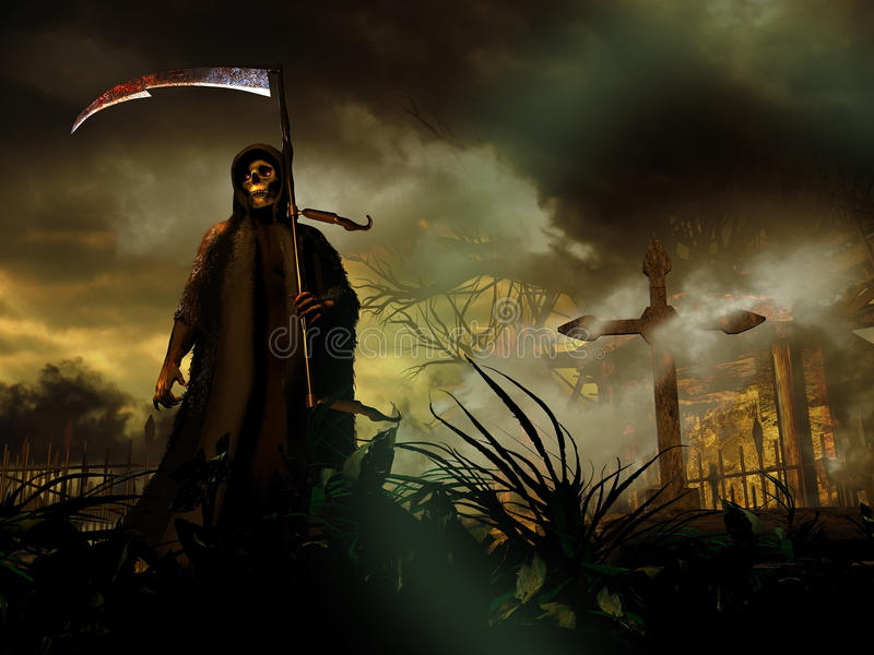Death coming. The personified Death, walking with her scythe among tombstones, coming out from the graveyard to search for her victims royalty free illustration