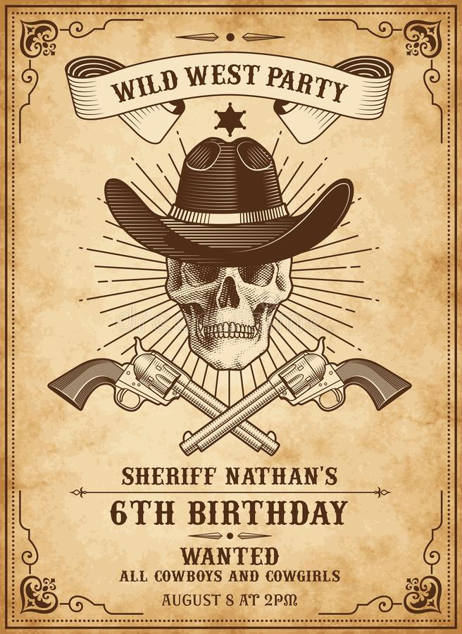 Death cowboy invite template. Vintage Looking Invite Template for a Party or Event with wild west or cowboy death theme royalty free illustration
