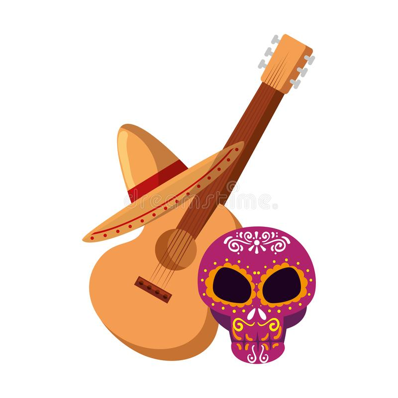 Death day mask with guitar and mariachi hat. Vector illustration design stock illustration
