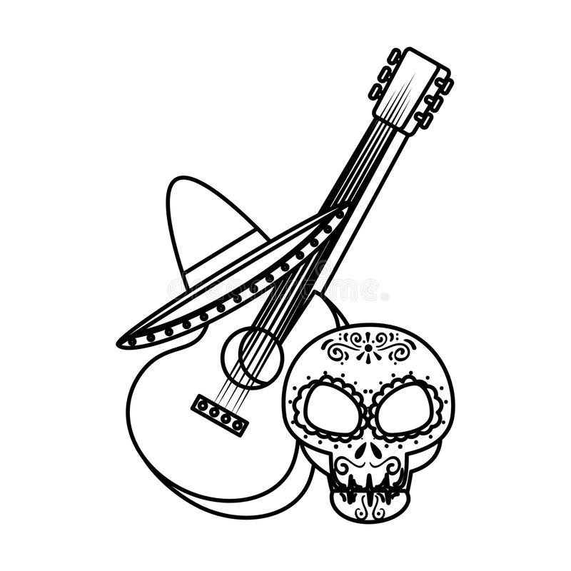 Death day mask with guitar and mariachi hat. Vector illustration design royalty free illustration