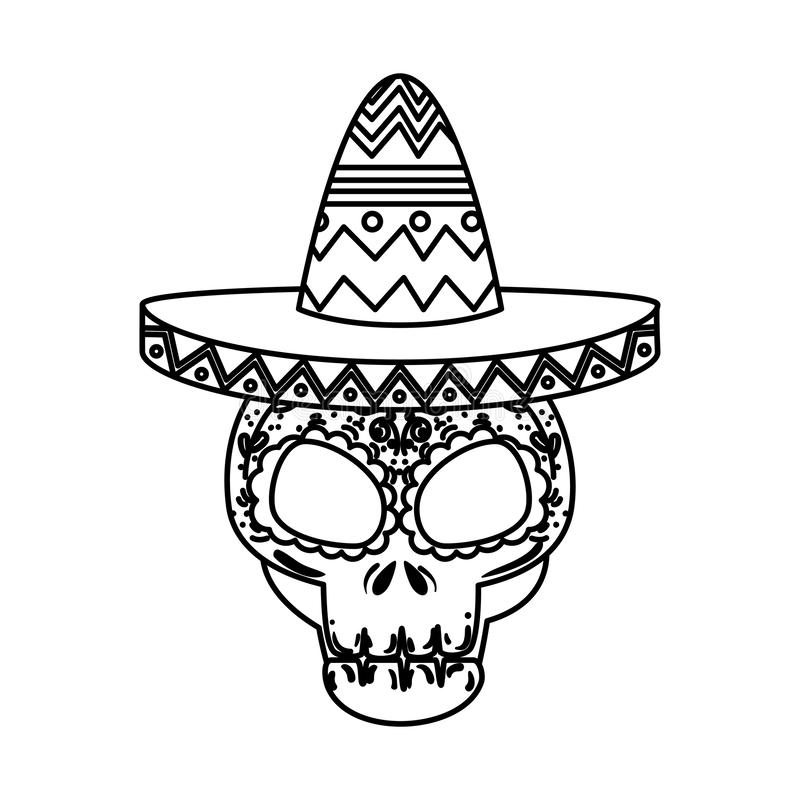 Death day mask with mariachi hat. Vector illustration design vector illustration