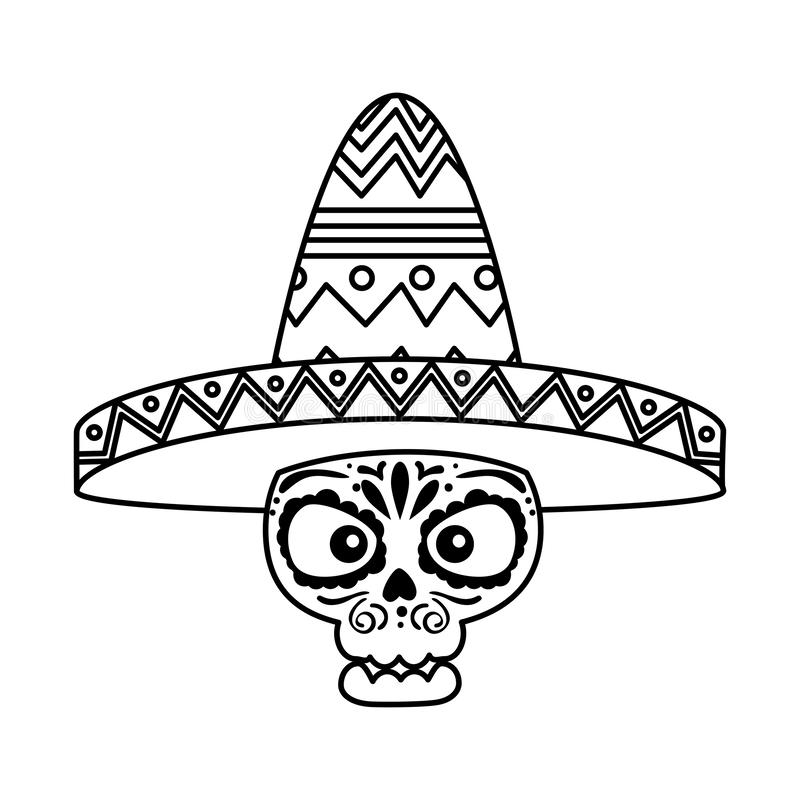 Death day mask with mariachi hat. Vector illustration design royalty free illustration