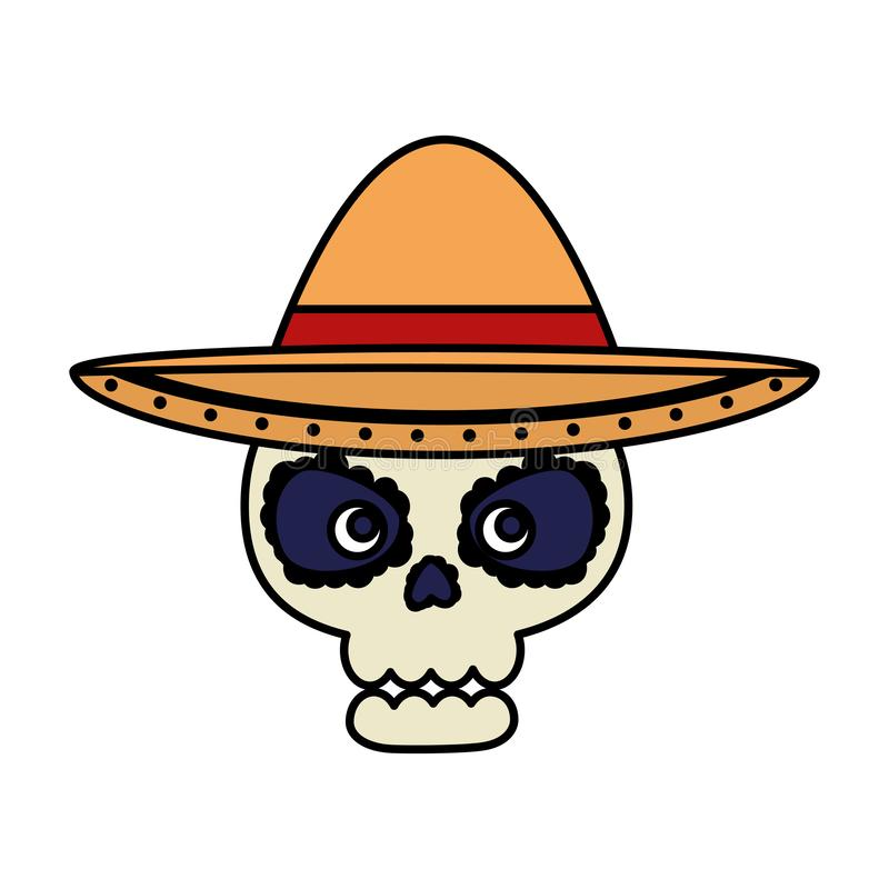 Death day mask with mariachi hat. Vector illustration design stock illustration