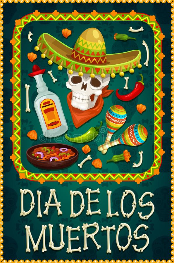 Death Day skull with sombrero, tequila, maracas. Dia de los Muertos sugar skull with sombrero and tequila. Day of the Dead religious festival vector design with vector illustration