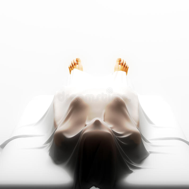 Death. Deceased person covered in a sheet vector illustration
