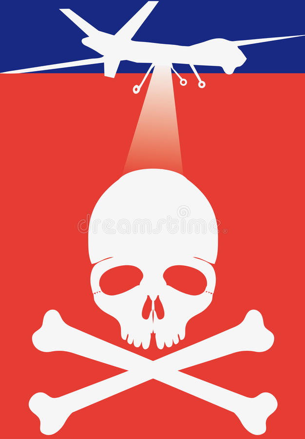 Death drone. Stylized iconic flag-like drone and death head
