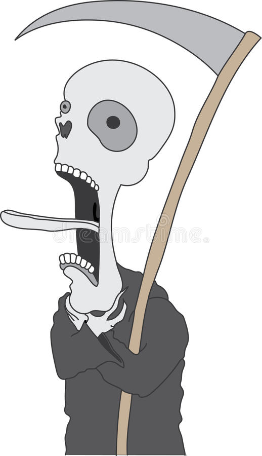 Death Dying. Vector illustration of the grim reaper choking and clasping for life vector illustration