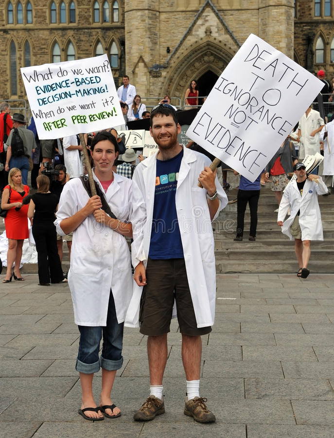 Death of Evidence March in Ottawa. Hundreds of Canadian scientists marched on Parliament Hill in the Death of Evidence march to protest deep cuts and stock photos