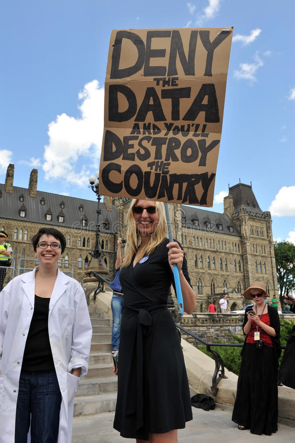 Death of Evidence March in Ottawa. Hundreds of Canadian scientists marched on Parliament Hill in the Death of Evidence march to protest deep cuts and royalty free stock photography