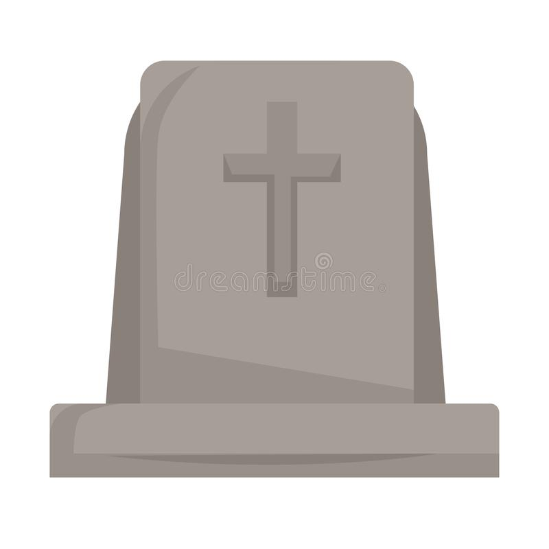 Gravestone or tombstone with cross isolated grave death and funeral royalty free illustration