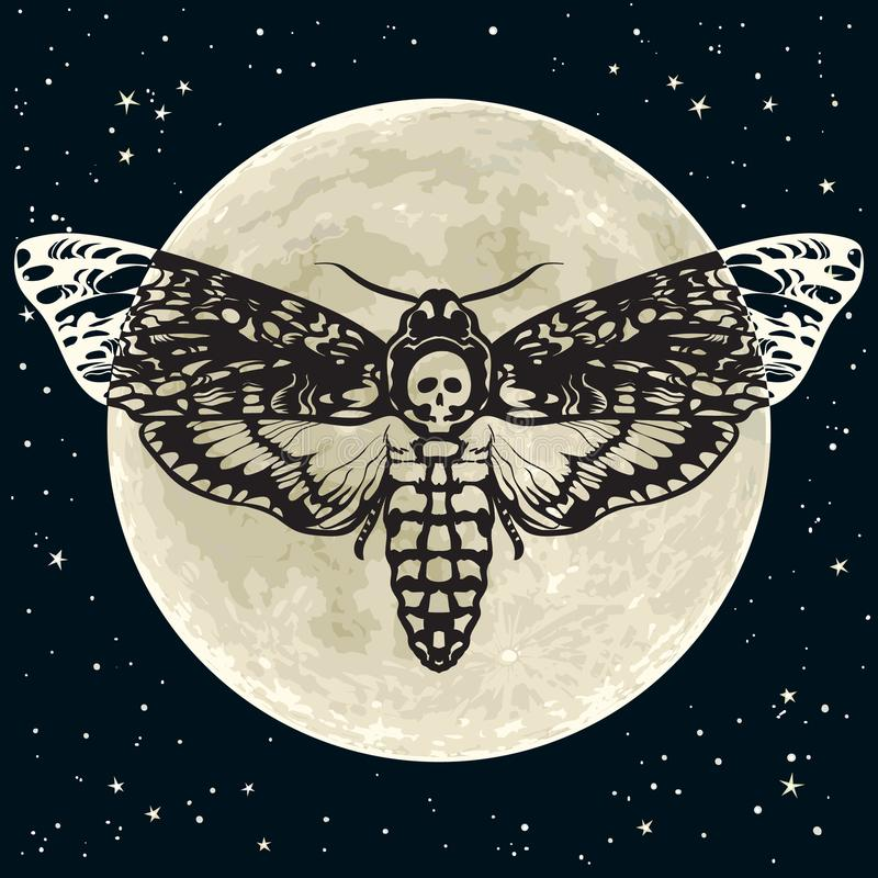 Death head hawkmoth on the full Moon and night sky background. Skull moth butterfly. Vector. Death head hawkmoth on the full Moon and night sky backg round stock illustration