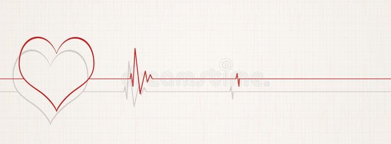 Death by heart beats illustration. Medicine banner illustrating death on ecg. no heart rate on ecg stock illustration