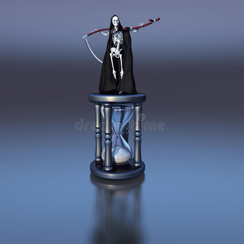 Death on the hourglass stock photo