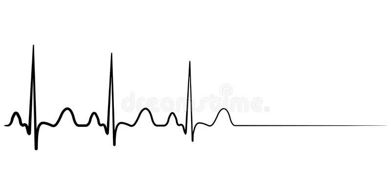 Death icon, cardiac arrest, vector cardio cardiogram, concept of condolence royalty free illustration