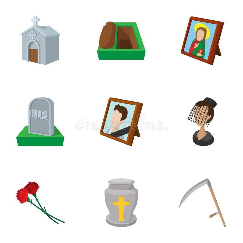 Death icons set, cartoon style stock illustration